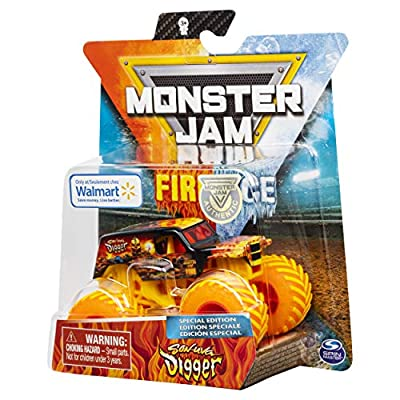 Monster Jam 2020 Fire & Ice Exclusive Special Edition Son-Uva Digger 1:64 Scale Diecast Monster Truck by Spin Master: Toys & Games