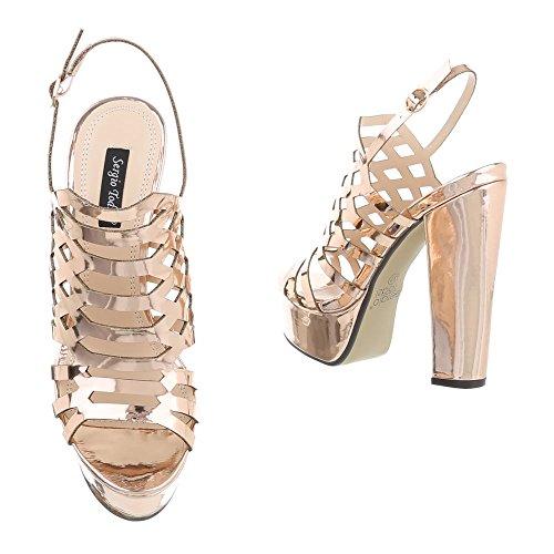 Ital Gold Design Rosa femme compensées chaussures qwBHq0S