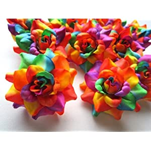 "(24) Silk Rainbow Roses Flower Head - 1.75"" - Artificial Flowers Heads Fabric Floral Supplies Wholesale Lot for Wedding Flowers Accessories Make Bridal Hair Clips Headbands Dress 70"