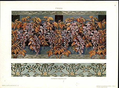 Patterns Flowers by Scandellari c.1912 scarce Italian Art Nouveau antique print