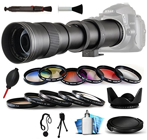 Opteka 420 – 800 mm f / 8.3 HD望遠ズームレンズバンドルパッケージIncludes 5 Piece uv-cpl-fl-macro 10 x -nd4フィルタ+ 6 Piece Graduated Colorエフェクトフィルタ+フード+スナップオンレンズキャップwith Cap Keeper +レンズペン+ Air Dust Blower forデジタル写真プリント+クリーニングキットfor Nikon Df、d2 X、d2 X S、d3 , d3s , d3 X , d4 , d4s , d40、d40 X、d60、d80、d90、d300、d700、d300s、d600、d610、d750、d800、d800e、d810、d3000、d3100、d3200、d3300、d5000、d5100、d5200 , d5300 , d7000 , d7100 DSLR SLRデジタルカメラ   B00PMBQ9U2
