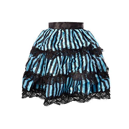 Leg Avenue Lace Trimmed Striped Satin Bustle Skirt, Black/Blue ()