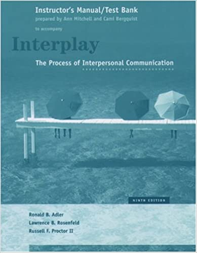 Interplay The Process Of Interpersonal Communication Instructors Manual And Test Bank To Accompany 9th Edition Textbook By Ronald B Adler