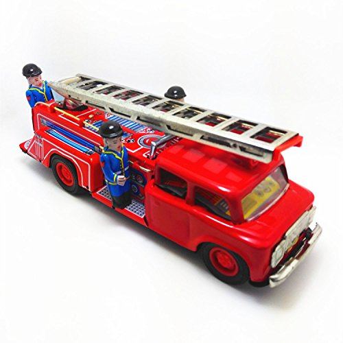 (Fire Truck Wind Up Tin Toy)
