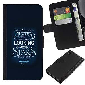 KLONGSHOP // Tirón de la caja Cartera de cuero con ranuras para tarjetas - Estrellas Inspirar Texto motivación Azul - Sony Xperia Z2 D6502 //