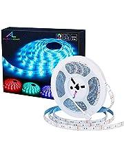 ALED LIGHT Striscia LED Impermeabile, 5050 SMD 300 LED RGB 5M Multicolore Strisce Flessibile Light, Telecomando a 44 Tasti e Adattatore di Alimentazione 12V 5A