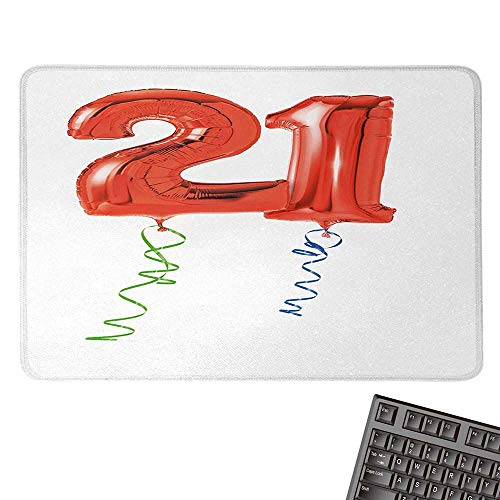 21st BirthdayE-Sports Gaming Mouse PadBirthday Party with Flying Balloons with Curvy Endings Artwork PrintNonslip Rubber Base 15.7