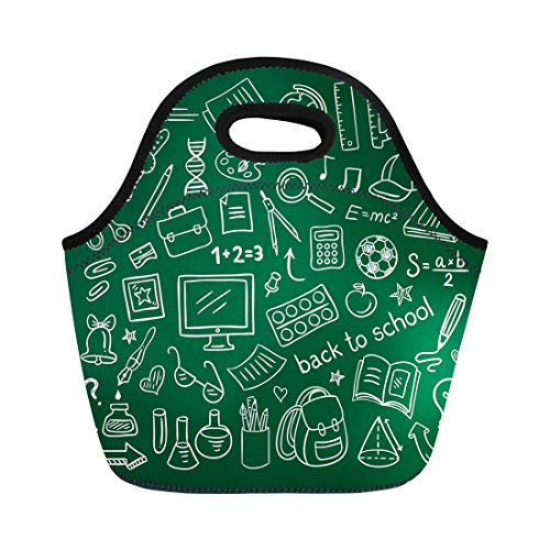 (Semtomn Lunch Tote Bag Kids School Doodle Educational and Science Symbols Stuff Outline Reusable Neoprene Insulated Thermal Outdoor Picnic Lunchbox for Men Women)
