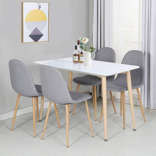 VECELO Dining Chairs for Kitchen/Dining/Living/Lounge Room, Fabric Cushion Seat Back Sturdy Metal Legs, Set of 4,Grey