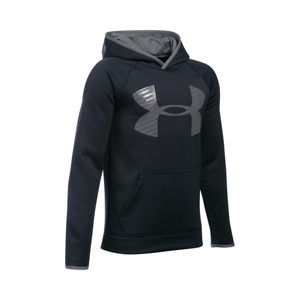 Under Armour Boys' Storm Armour Fleece Highlight Big Logo Hoodie, Black/Graphite, Youth Small