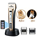 CanineStar Pet Clippers Electronic Cat Dog Clippers Professional Rechargeable Cordless Grooming Safe Clipper Trimmer with LED Power Indication Strong Power Security Blade Low Noise Fast Smart Charge