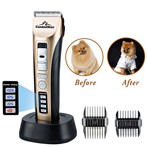CanineStar Pet Clippers Electronic Cat Dog Clippers Professional Rechargeable Cordless Grooming Safe Clipper Trimmer with LED Power Indication Strong Power Security Blade Low Noise Fast Smart Charge (Low Consumption Guide)