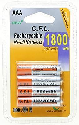 CFL - Blíster de 4 Pilas Recargables AAA Ni-MH (1800 mAh): Amazon.es: Electrónica