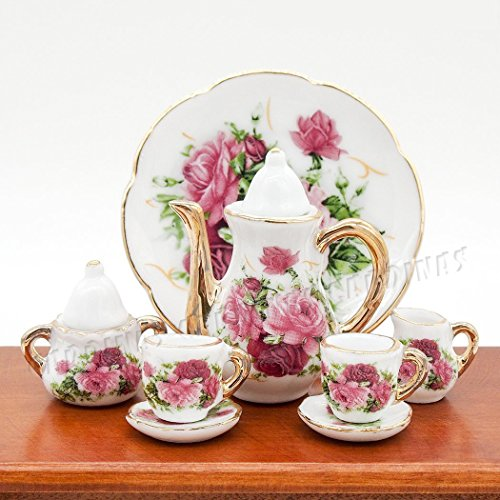 Odoria 1:6 Miniature 8PCS Porcelain Tea Cup Set Pink Rose Chintz with Gold Trim Dollhouse Kitchen Accessories - Miniature Ceramic Tea Set