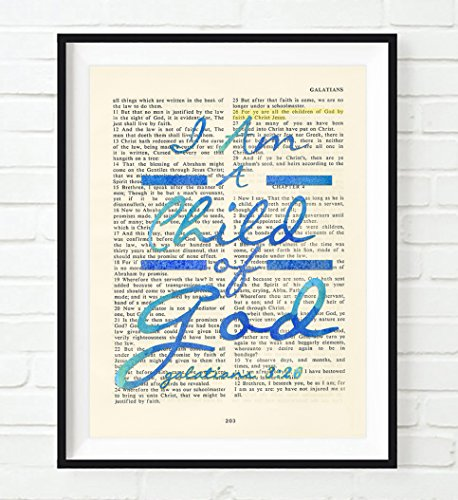 I Am a Child of God. - Galatians 3:26 BLUE Christian ART PRINT, UNFRAMED,Vintage Bible verse scripture wall decor poster, Inspirational gift, 8x10 inches