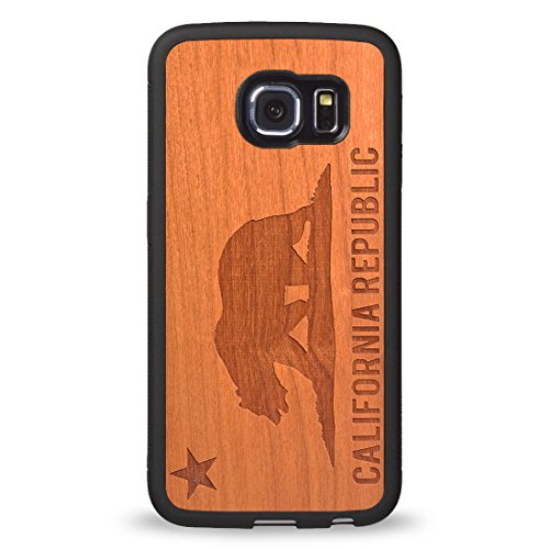 Custom Samsung Galaxy S6 Case Carved on Natural Wood Samsung Galaxy S6 Case iZERCASE [Wood Collection, California Republic] (Rosewood)