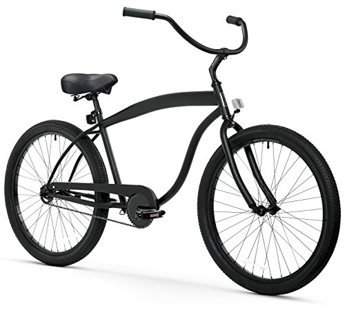 sixthreezero Men's In The Barrel Single Speed Beach Cruiser Bicycle, Matte Black w/ Black Seat/Grips, 26