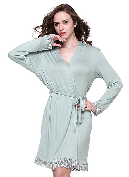 YiLianDa Mujer Mañana Vestido Pijama Corto Albonoz Kimono Bata de Aspecto Brillante L