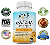 Amate Life EPA/DHA Omega 3 Fish Oil (1000mg) Supplement Support Brain Functions, Cardiovascular Health, Heart Health & Joints Health Vitamin Dietary Supplement for Men & Women - 120 Softgels