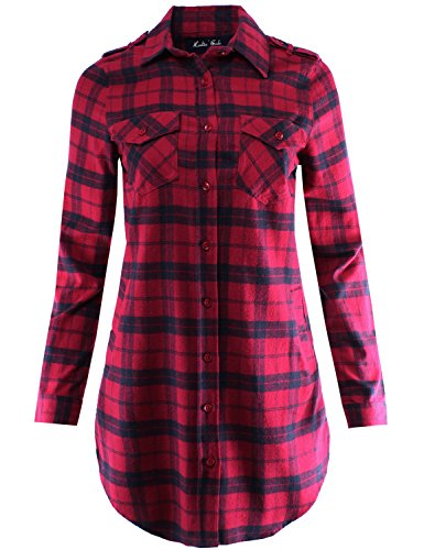 Flannel Plaid Shirt Dress with Roll Up Sleeve Red Black XL Size