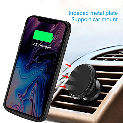 Compatible iPhone Xs Max Battery Case, 6000mAh Extended Battery Rechargeable Backup Fast Charging Case, Impact Resistant Power Bank Juice Full Edge Protection for iPhone Xs Max (Black) by BasicStock (Image #4)