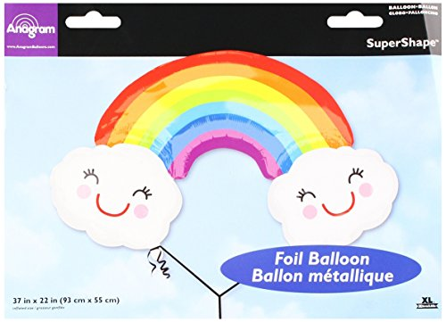 Burton & Burton Rainbow with Clouds Foil/Mylar Balloon, 37