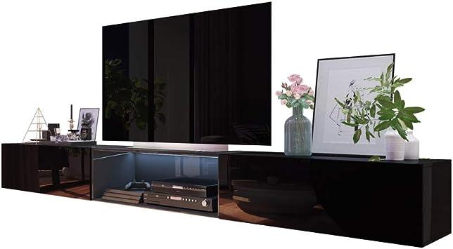 Selsey Leo - Mueble para televisor (300 cm), Color Negro Brillante ...