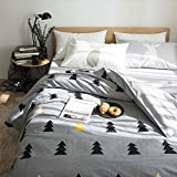 BuLuTu Forest Tree Print Kids Bedding Cover Sets Twin Duvet Cover Set Nature Cotton Quilt Bedding Sets Grey For Boys