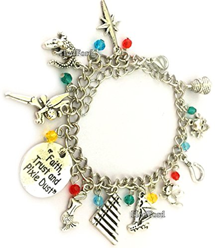 Peter Pan Themed Charm Silver (Deluxe Adult And Teen Tinkerbell Costumes)