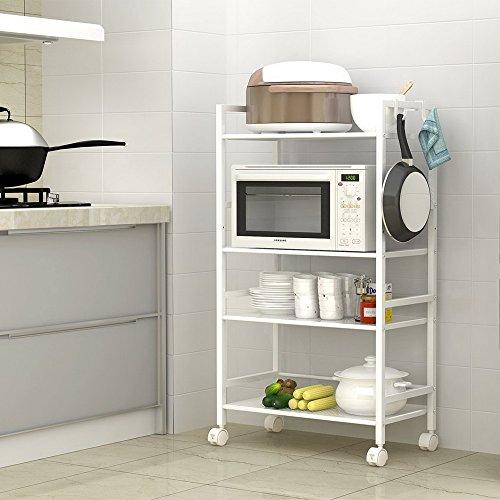 SSLine 4 Shelf Metal Rolling Kitchen Storage Cart Organizer, Microwave Oven Stand Cart on Wheels Mobile Utility Cart Baker Rack Shelving Unit