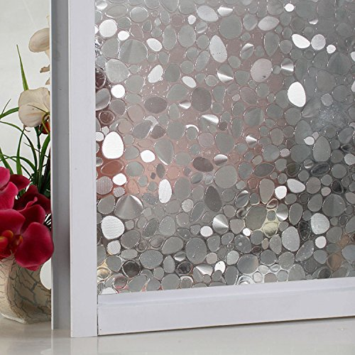 New Lifetree No Glue Window Cling Static Cling Decorative Frosted Privacy Window Glass Film Glass Heat Control Anti Uv for Bathroom Office Home Kitchen (White,17.7 by 78.7inch ) … …