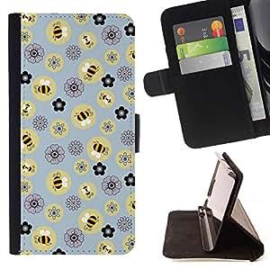 For Apple Apple iPhone 4 / iPhone 4S Case , Abeja Modelo de flores amarillas- la tarjeta de Crédito Slots PU Funda de cuero Monedero caso cubierta de piel