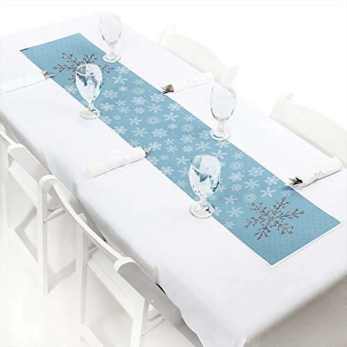 Winter Wonderland - Petite Snowflake Holiday Party & Winter Wedding Paper Table Runner - 12