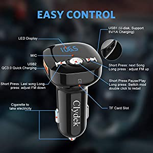 51EktPUqSLL. SS300  - Bluetooth-FM-transmitter-Clydek-Bluetooth-receiver-hands-free-calling-radio-adapter-car-charger-with-Bluetooth-42-2-USB-ports-power-off-and-music-player