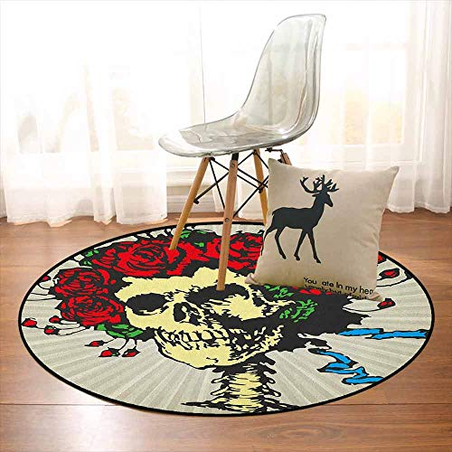 Rose Super Soft Round Home Carpet Tattoo Art Style Graphic Skull in Red Flowers Crown Halloween Composition Print for Sofa Living Room D39.7 Inch Beige Multicolor]()