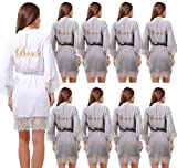 GoldOath Set Of 9 Women's New Grey Cotton Kimono Robes Wedding Party Gifts For Bride and Bridesmaid With Lace Trim