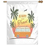 HUANGLING Retro Surf Van With Palms Camping Relax Hippie Travel Be Happy Free Sixties Theme Home Flag Garden Flag Demonstrations Flag Family Party Flag Match Flag 27''x37''