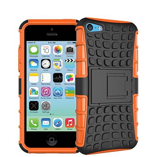 iPhone 5C Funda,COOLKE Duro resistente Choque Heavy Duty Case Hybrid Outdoor Cover case Bumper protección Funda Para Apple iPhone 5C - Rojo naranja