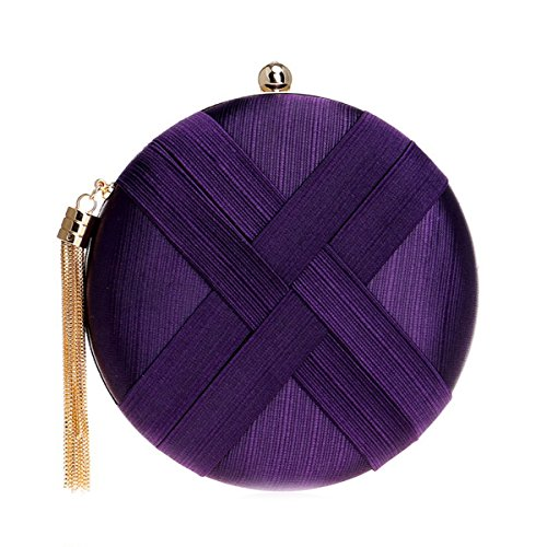 Pendant Tassel Satin Evening with Round Ladies Purple Women and Clutches bags Flada Wedding Handbags xA7ZPnq