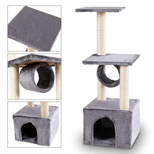 TANGKULA Cat Tree Triple Platforms Cat Tower Furniture Sisal-Covered Scratching Post Pet Climbing Condo (grey)