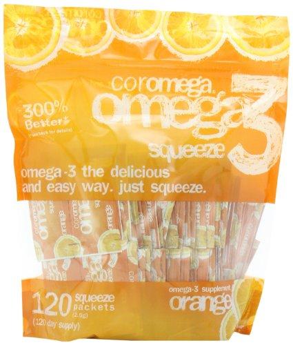 Coromega Omega3 Glissez-paquets, Orange, 120-comte