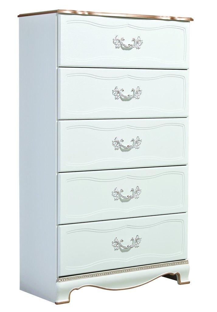 Ashley Furniture Signature Design - Korabella Chest of Drawers - Replicated Oak Grain - 5 Drawers - Traditional - White
