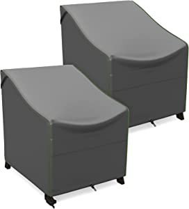 NUPICK Patio Chair Cover, 32 Inch Outdoor Furniture Cover for Club Chair, Lounge Deep Seat Chair, Swivel Chair, 32W x 37D x 36H, Grey, Pack of 2