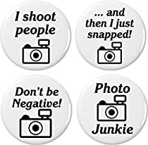 "Set 4 Camera Photographer Humor Themed 2.25"" Large Magnets (Shoot People Snapped Photo Junkie)"