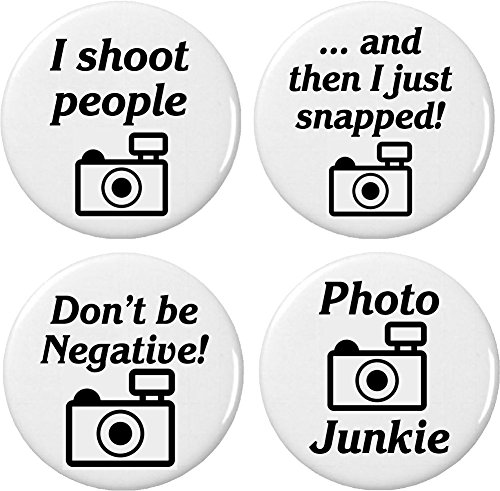 """Set 4 Camera Photographer Humor Themed 2.25"""" Large Magnets (Shoot People Snapped Photo Junkie) from A&T Designs"""