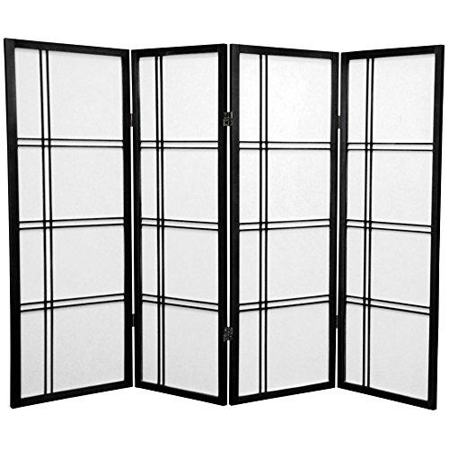 Oriental Furniture 4 ft. Tall Double Cross Shoji Screen - Black - 4 Panels