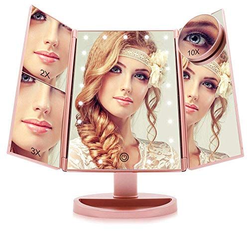2x Magnifying Cosmetic Mirror - Funtouch Makeup Vanity Mirror with 21 LED Lights, 10X/3X/2X/1X Magnifying Led Makeup Mirror with Touch Screen,Dual Power Supply,180° Adjustable Rotation,Countertop Cosmetic Mirror(Rose Gold)