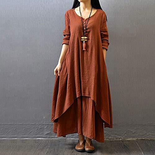 lino Abito unita donna Amphia Abito tinta Abito marrone Abito allentata Donna in lungo in etnico irregolare qUn5xCHw