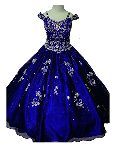 GreenBloom Little Girls' Crystal Long Sleeve Kids Ruffled Pageant Dresses Royal Blue ()