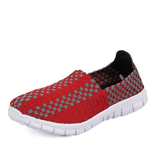 para Verano Red Deportivos de Zapatos Zapatos Zapatos Malla Mamá Mujeres de Zapatos de Tela Planos Transpirables Zapatos Hasag para wBxqHEYURR